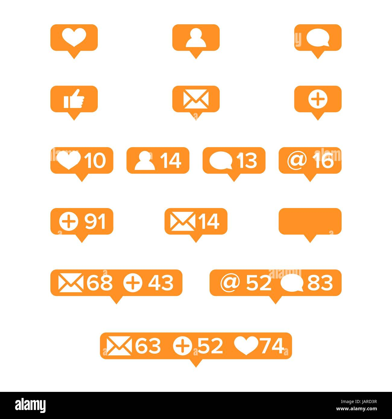Notifications Icons Template Vector. Social network app symbols of ...