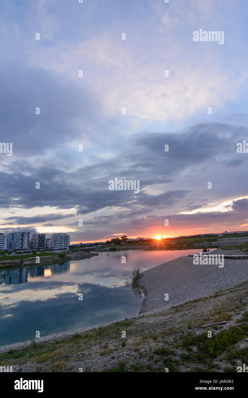 Seestadt (lake city) Aspern in construction, houses, lake, Wien, Vienna, 22. Donaustadt, Wien, Austria Stock Photo