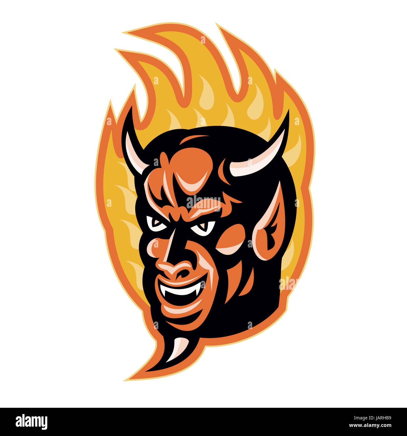 Illustration of a demon devil with big horns with fire flames in illustration of a demon devil with big horns with fire flames in background done in retro style voltagebd Images