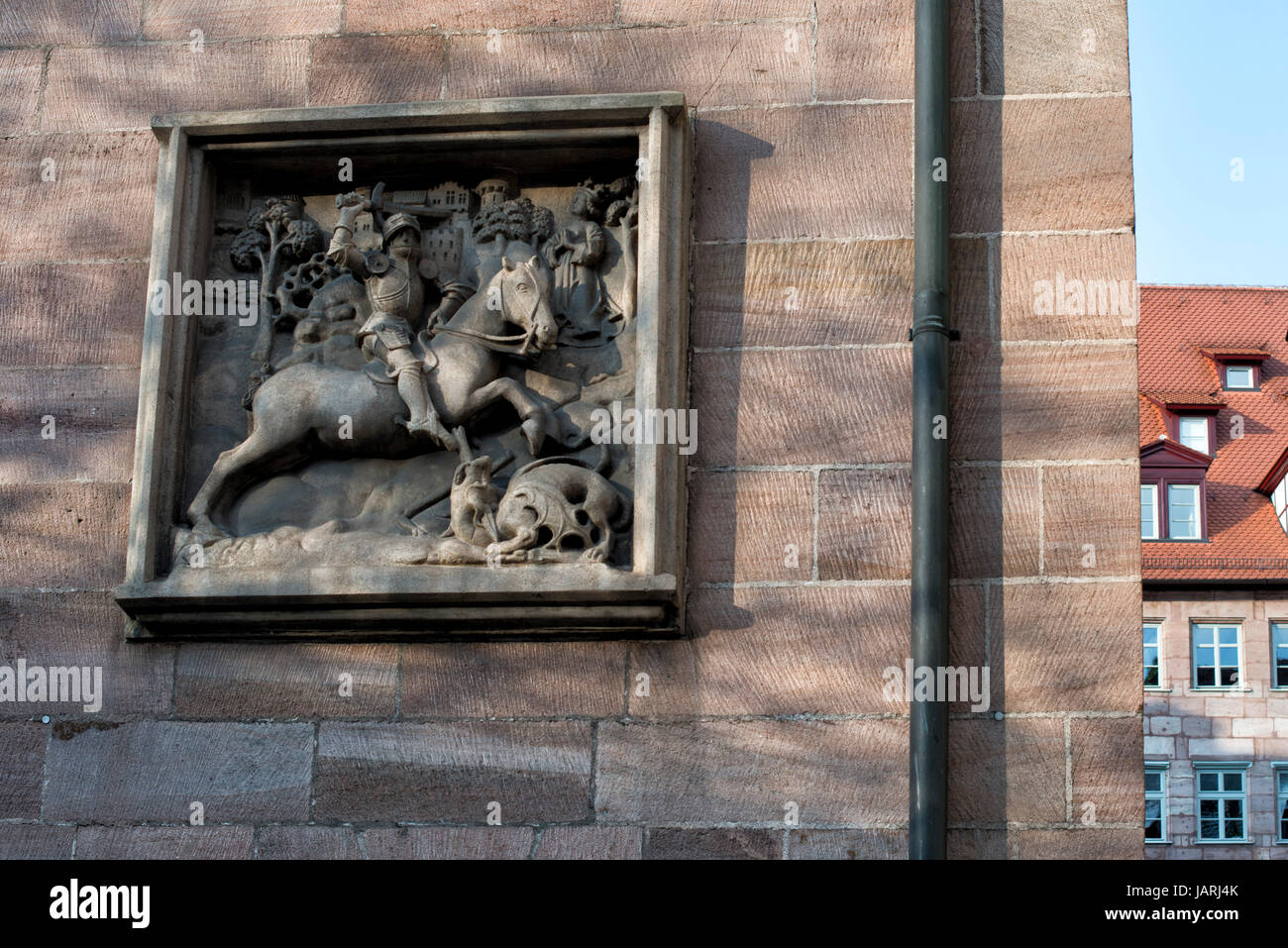 Relief an einer Hauswand in Nürnberg, Bayern, Deutschland - Stock Image