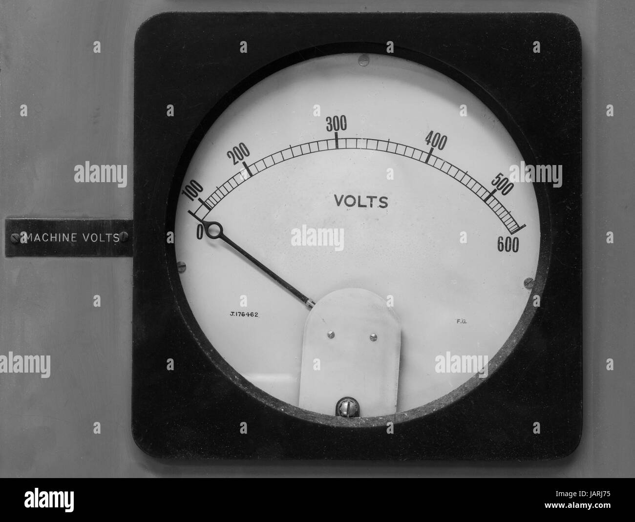 Old volt meter that goes up to 600 volts. - Stock Image