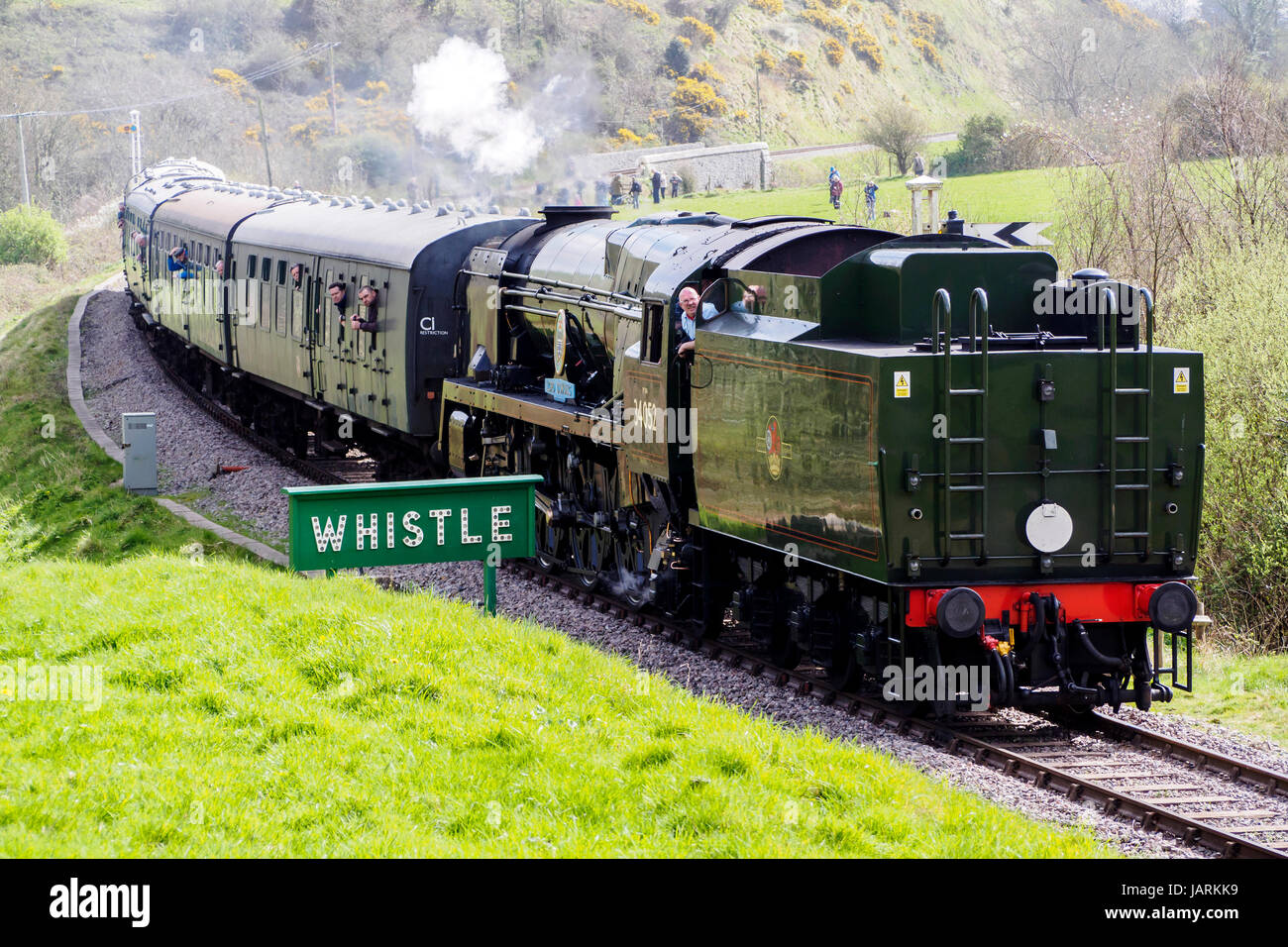 Southern Steam! Former Southern Railway and BR Bulleid Pacifics  on the Swanage Railway in May 2017 commemorate Stock Photo
