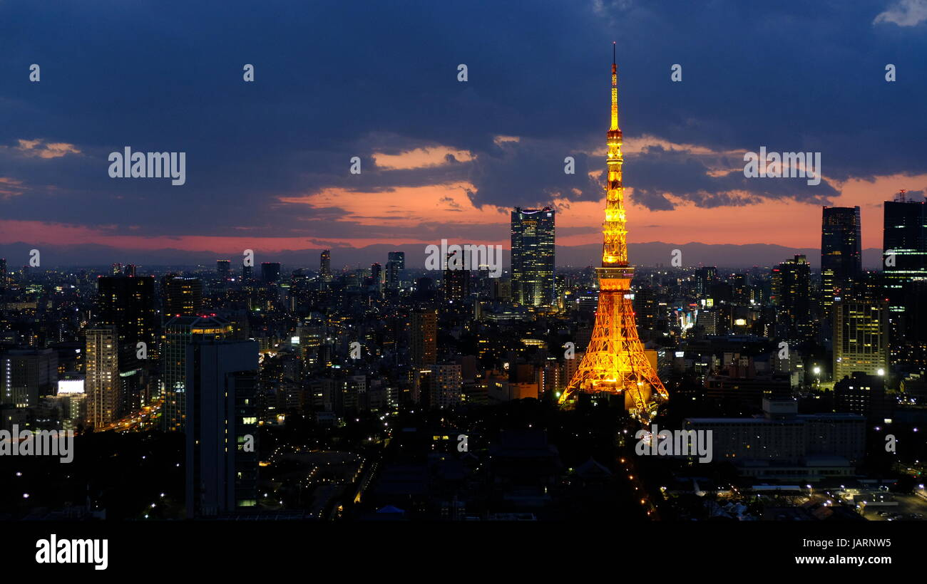 the majestic Tokyo Tower - Stock Image