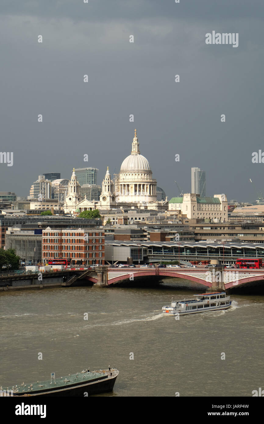 St Paul's Cathedral, London, UK with Blackfriars Bridge and the River Thames in the foreground and CityPoint - Stock Image