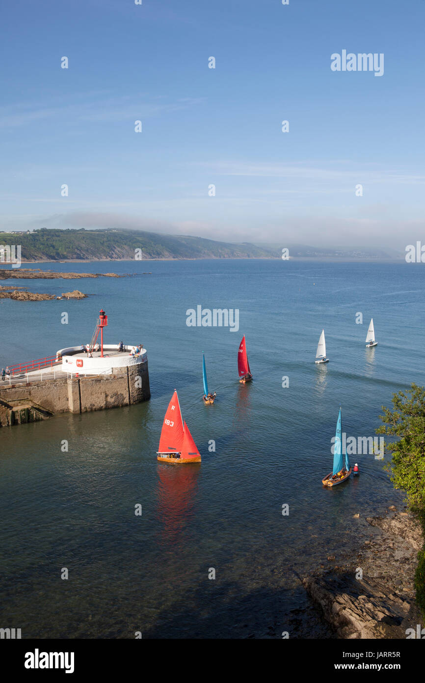 Small dinghies with colourful sails head out to sea at Looe, Cornwall - Stock Image
