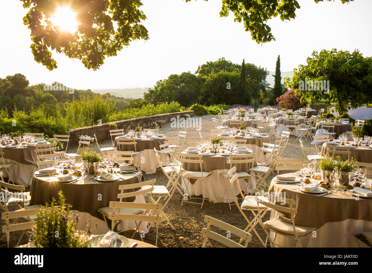 Wedding setup in South of France - Stock Image