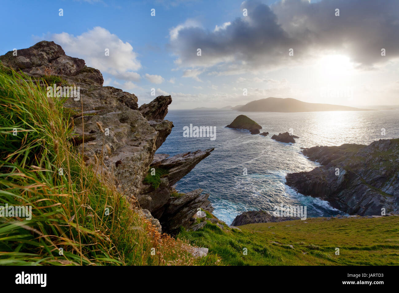 looking from dingle peninsula in western ireland (Europe`s most westerly point) towards blasket islands while sky Stock Photo