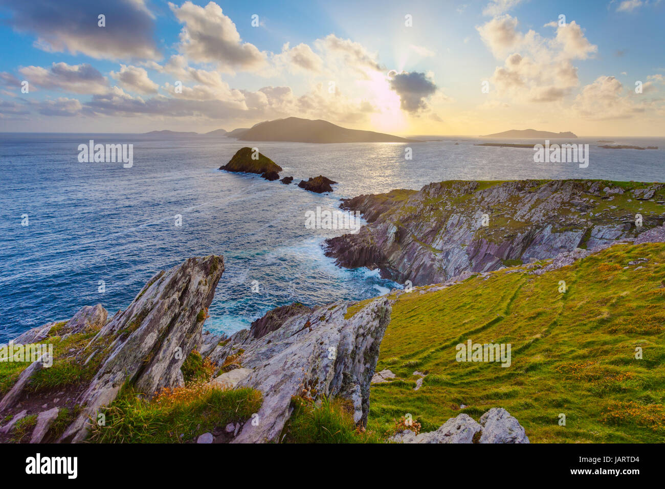 scenic irish west coast, looking from dingle peninsula (Europe`s most westerly point) in western ireland towards Stock Photo