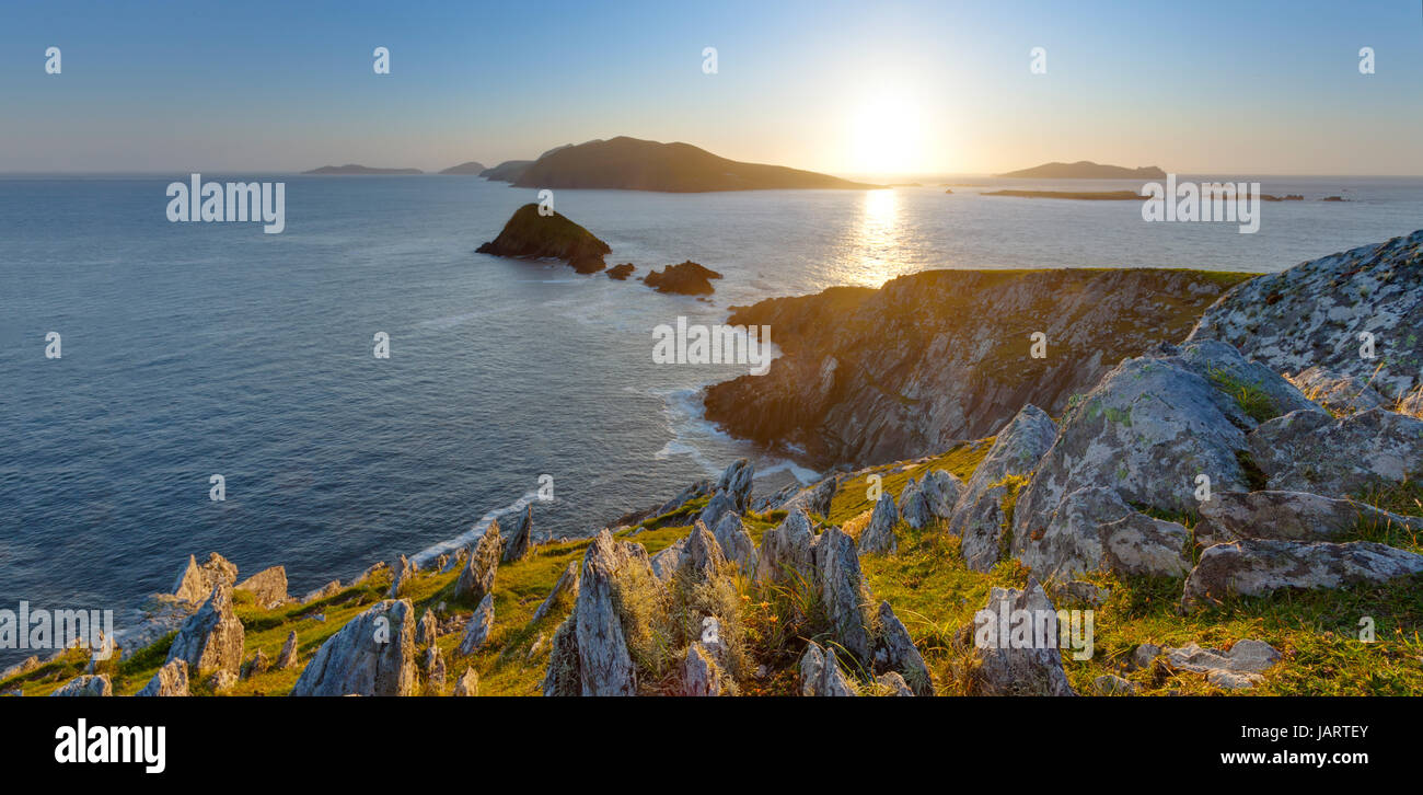 scenic irish west coast, looking from dingle peninsula (Europe`s most westerly mainland point) in western ireland - Stock Image