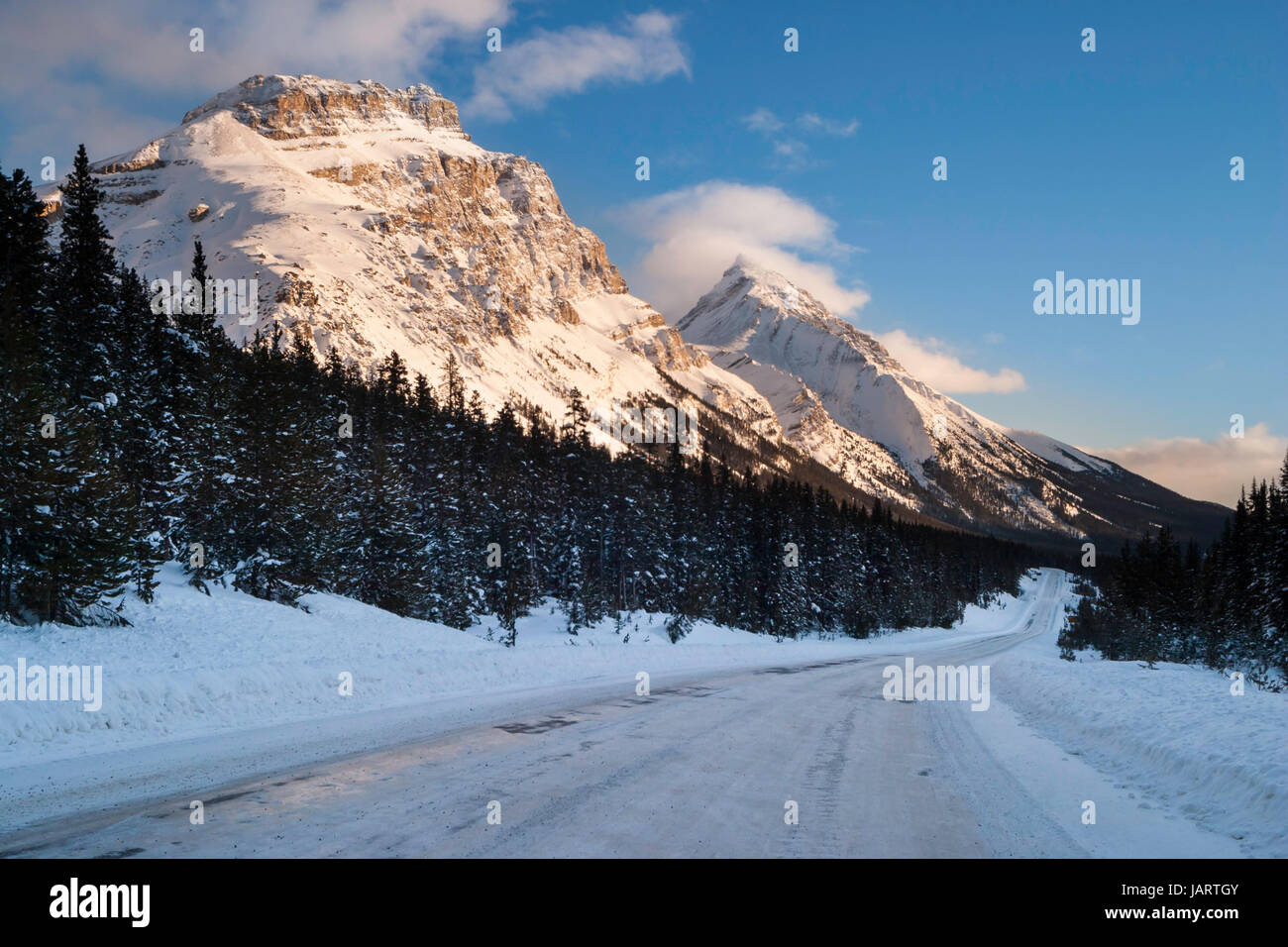 Icefields Parkway in Winter,highway 93 Stock Photo