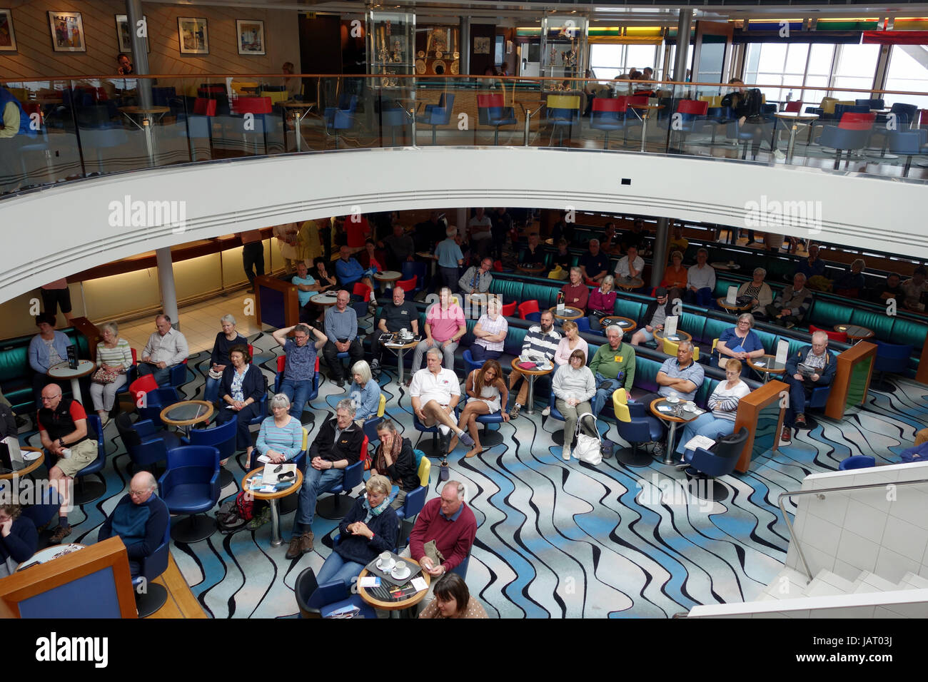 Passengers on board Brittany Ferries ship Pont Avon - Stock Image