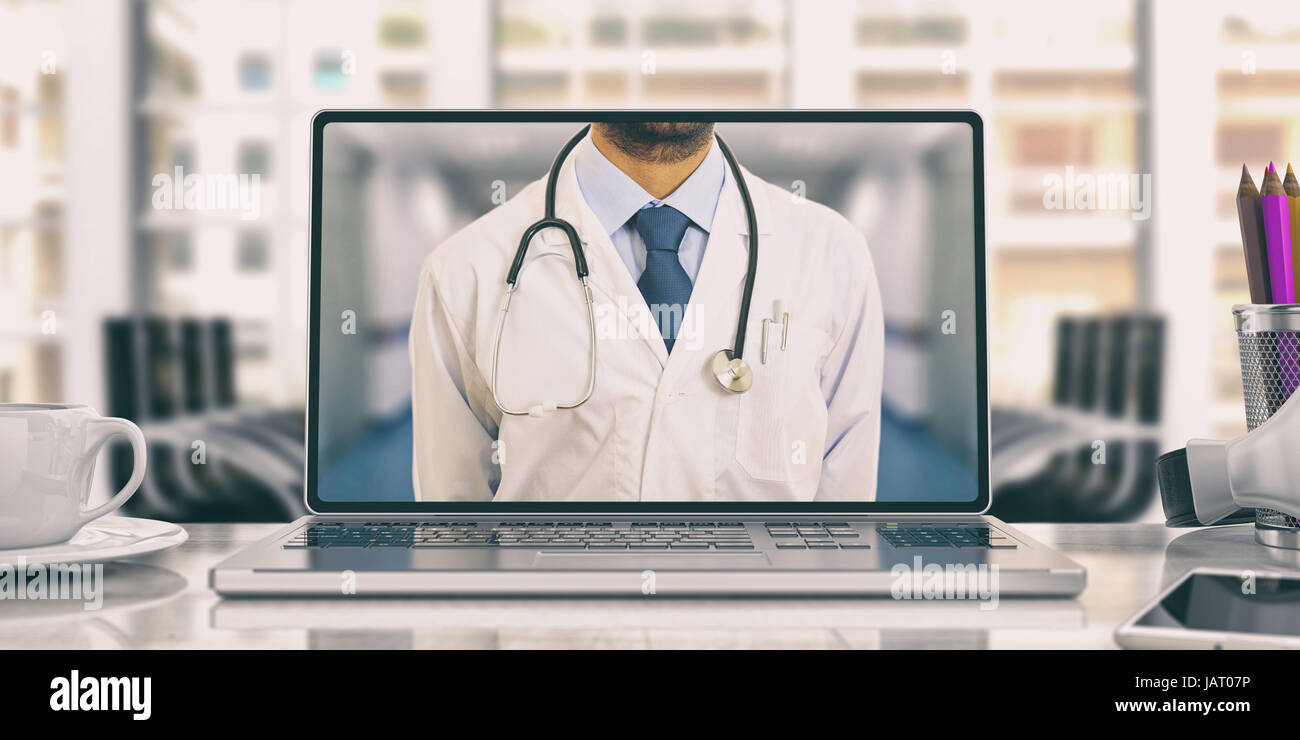 Workspace. Doctor on the computer screen. 3d illustration - Stock Image
