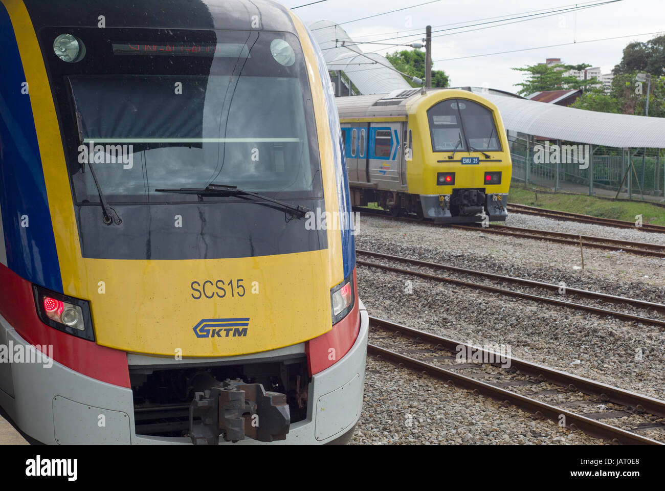 KTM Class 83 and Class 92 electric multiple unit trains at Kajang station, Malaysia - Stock Image