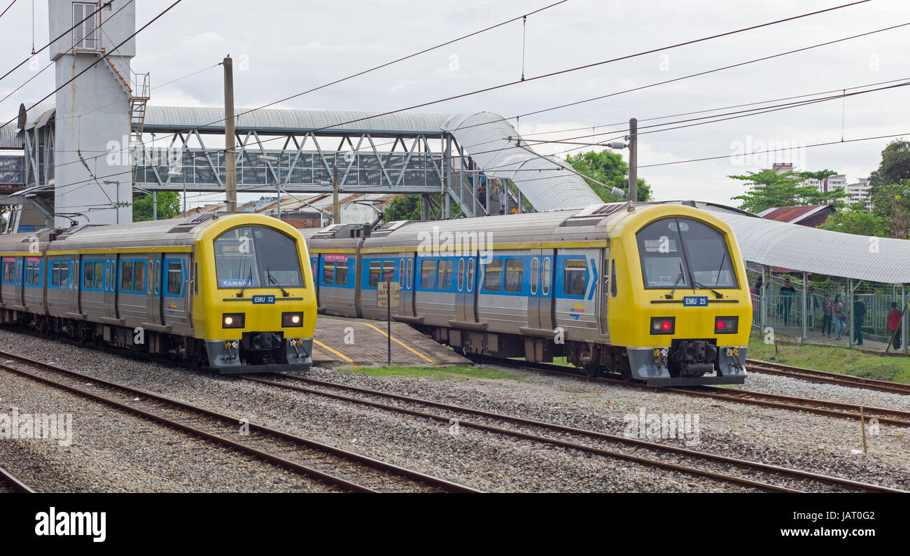 KTM Class 83 electric multiple unit train at Kajang station, Malaysia - Stock Image