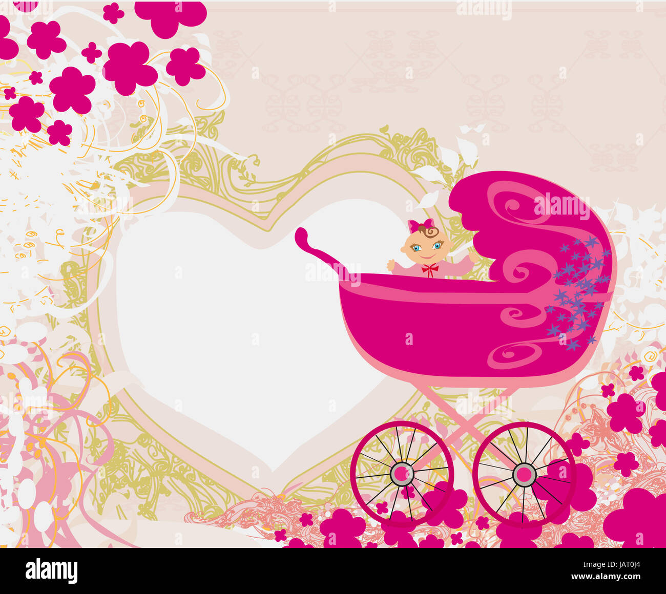 baby girl announcement card stock photo 144356860 alamy