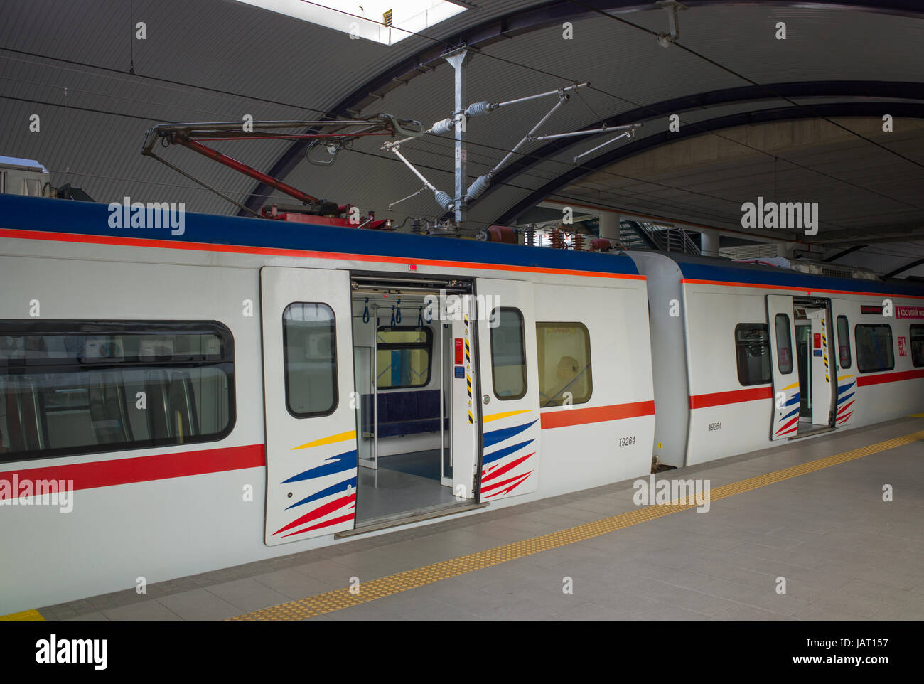 Pantograph coach in KTM Class 92 electric multiple unit train at Batu Caves station, Malaysia - Stock Image