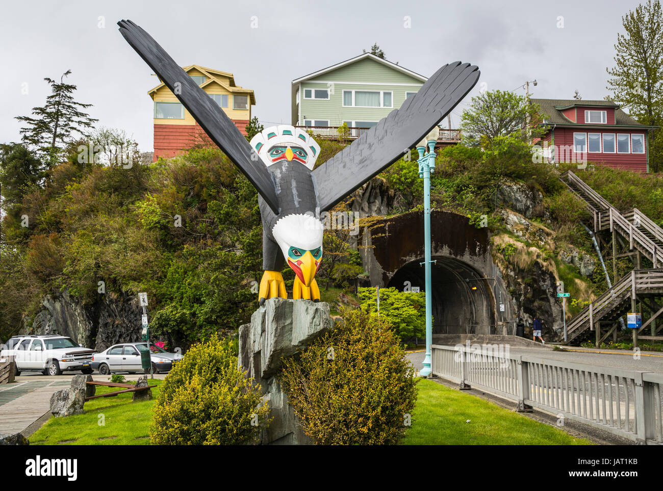 A bald eagle wood carving and park in the city of Ketchikan, Alaska, USA. - Stock Image