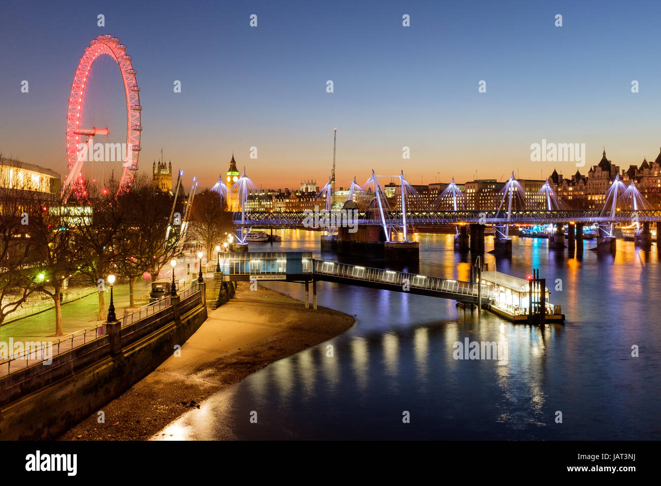 Sunset over London's South Bank & River Thames - Stock Image