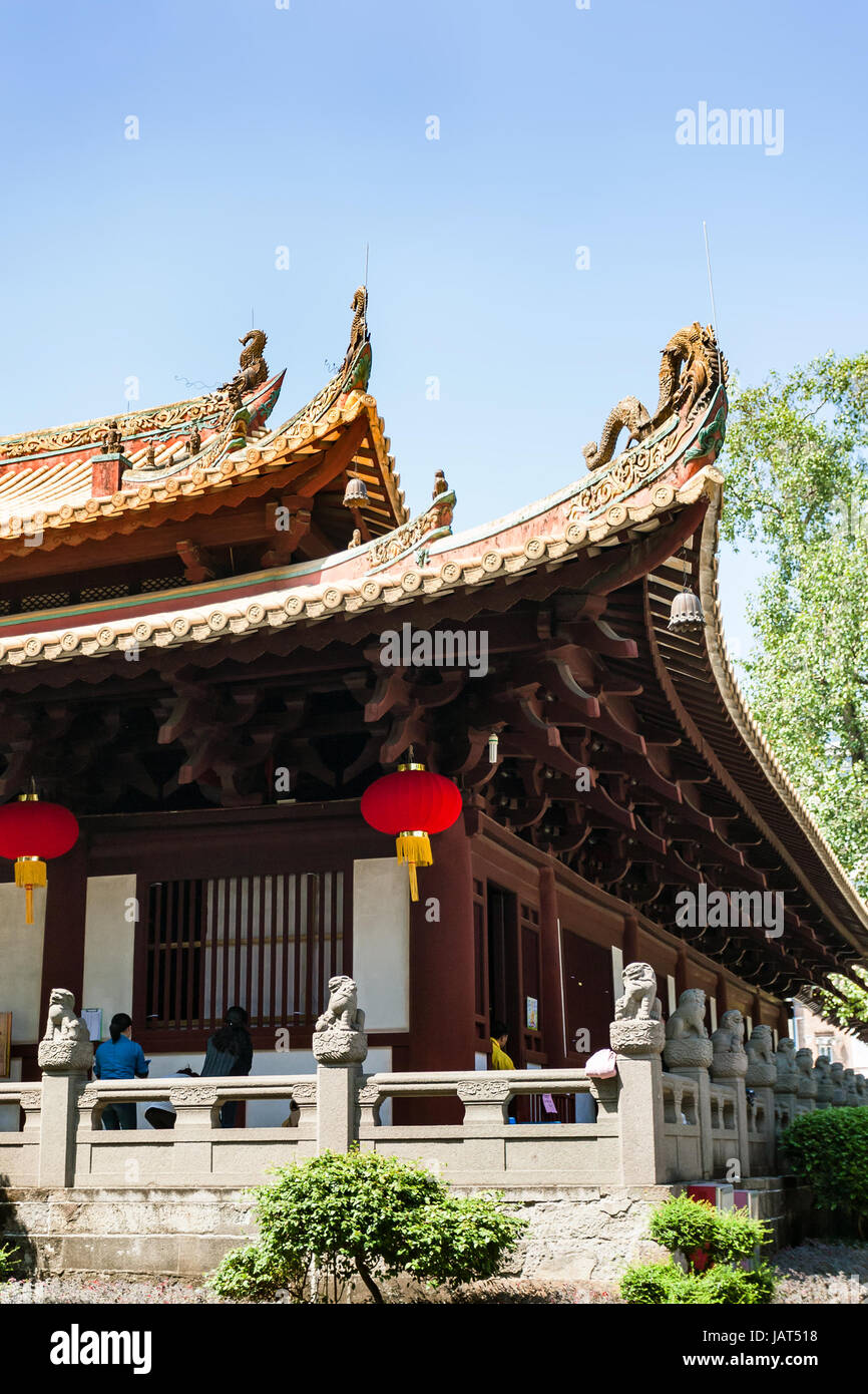 GUANGZHOU, CHINA - APRIL 1, 2017: people in patio of Guangxiao Temple (Bright Obedience, Bright Filial Piety Temple). Stock Photo