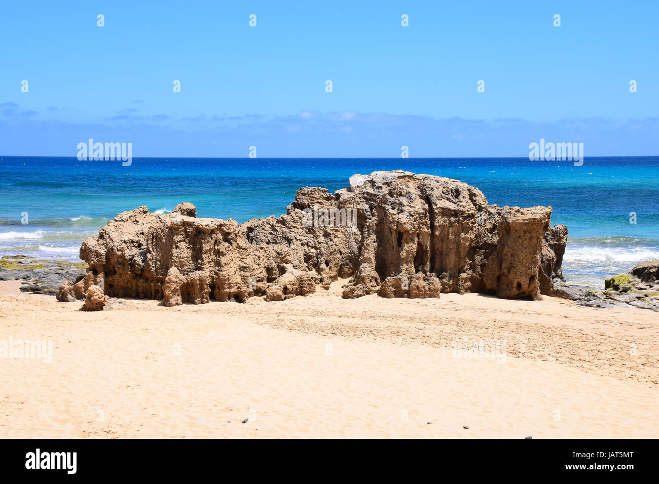 Rocks on the beach at Ponta da Calheta, south west on the island of Porto Santo, 43 miles north of Madeira, Portugal - Stock Image