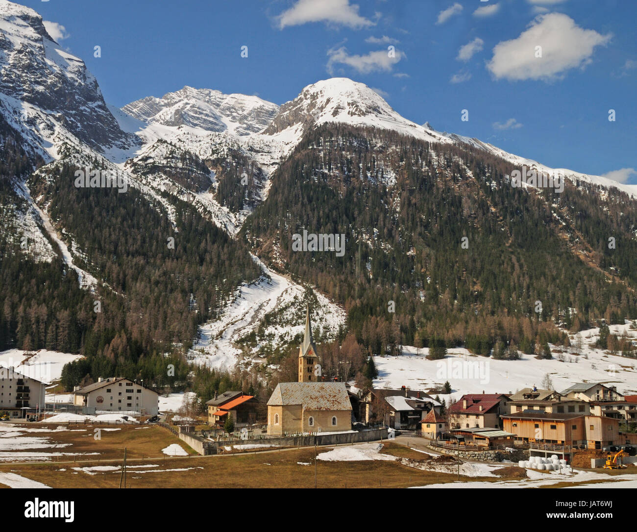 Village of Bergün, Switzerland from the Glacier Express train in the Swiss Alps. - Stock Image