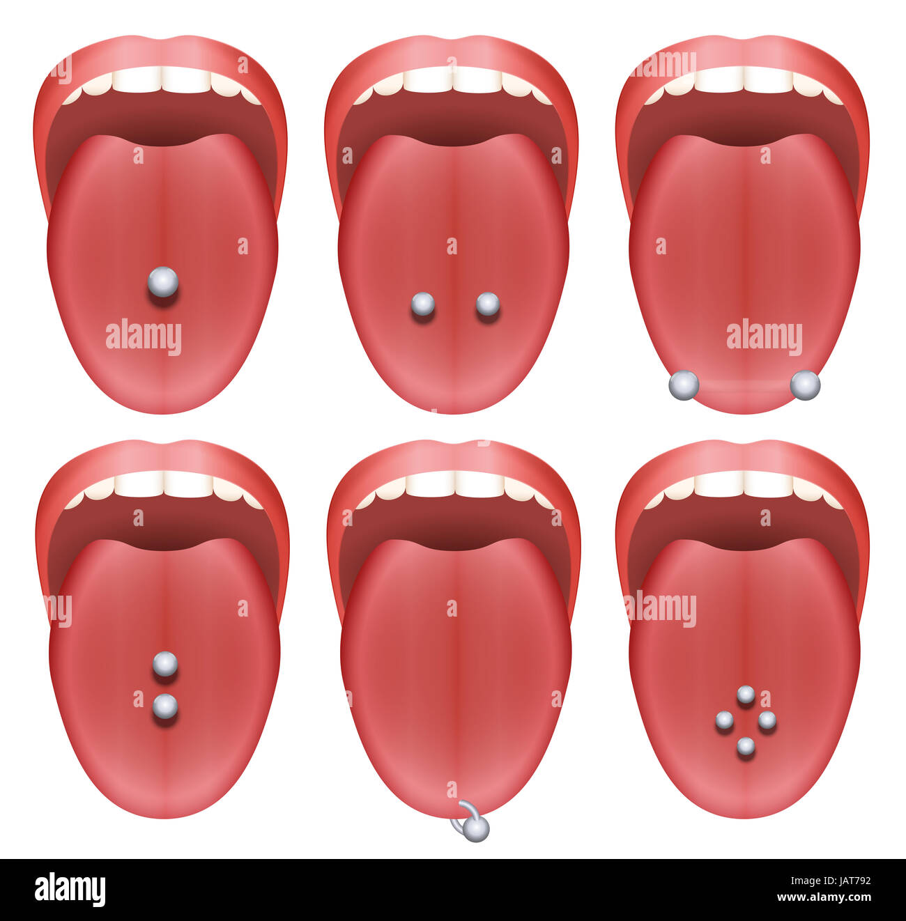 Tongue Piercing Examples Nine Different Illustrations On White