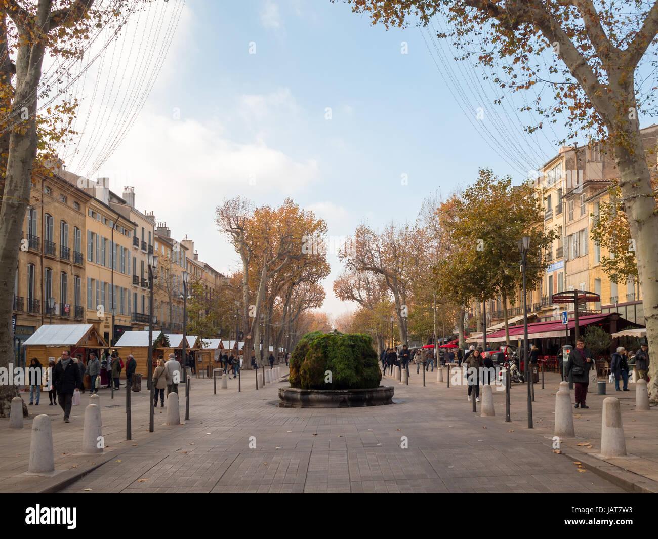 Cours Mirabeau, Aix-en-Provence - Stock Image