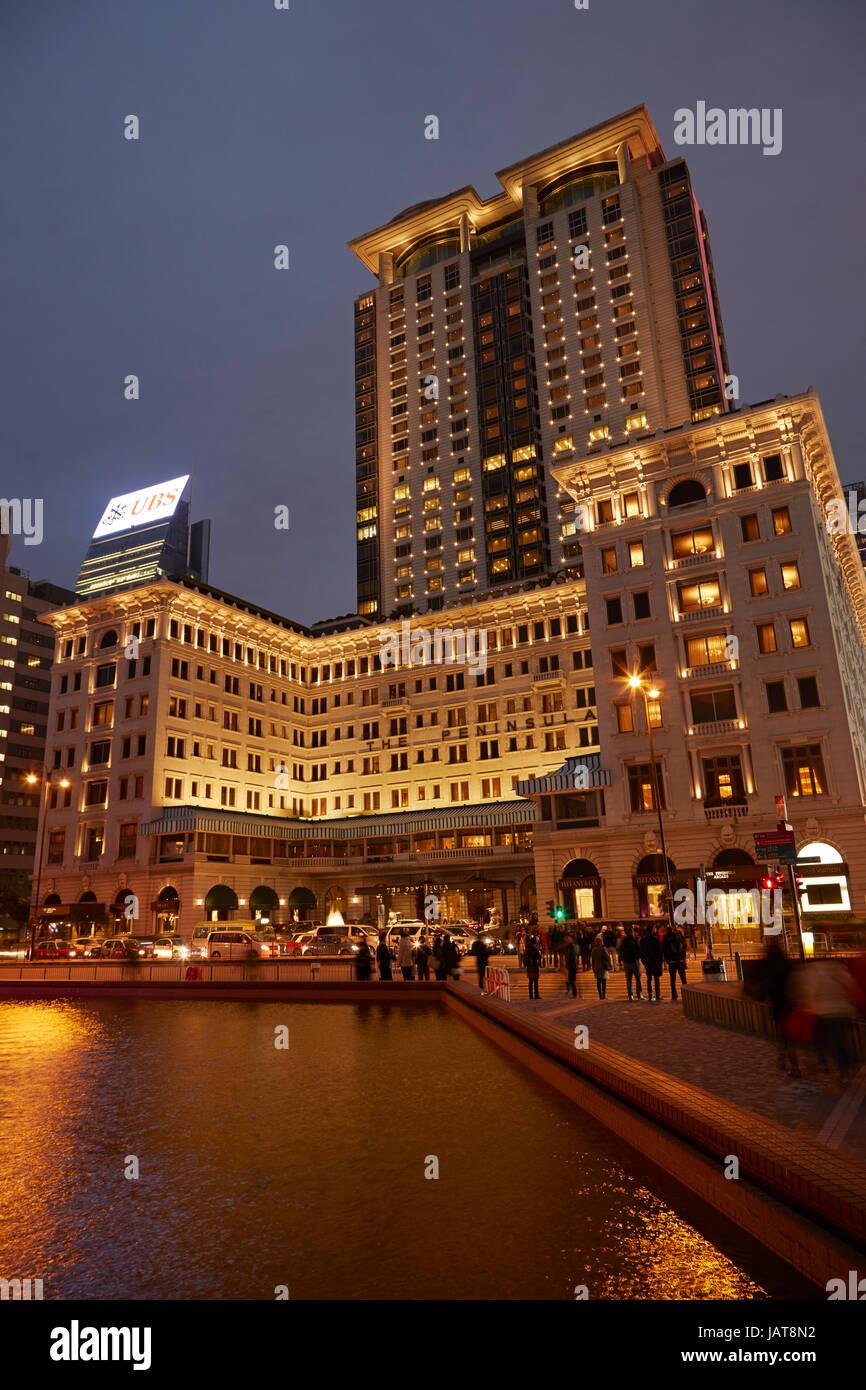 The Peninsula Hotel at night, Tsim Sha Tsui, Kowloon, Hong Kong, China, Asia - Stock Image