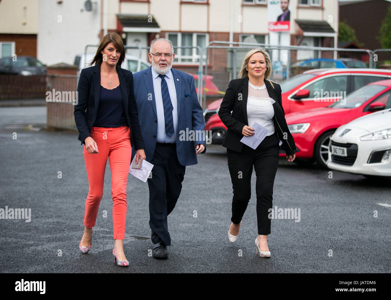 Sinn Fein leader in Northern Ireland Michelle O'Neill (right) with Westminster candidate Francis Molloy (centre) - Stock Image