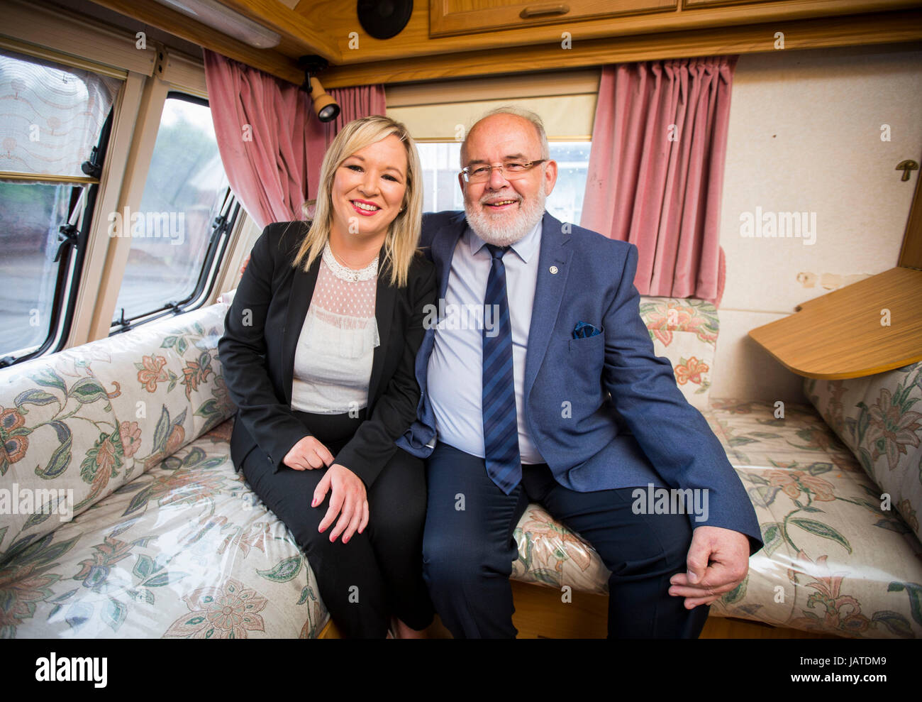 Sinn Fein leader in Northern Ireland Michelle O'Neill with Westminster candidate Francis Molloy inside the Sinn - Stock Image