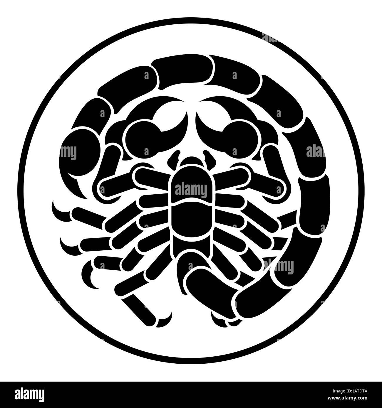 Scorpio scorpion horoscope astrology zodiac sign icon - Stock Image