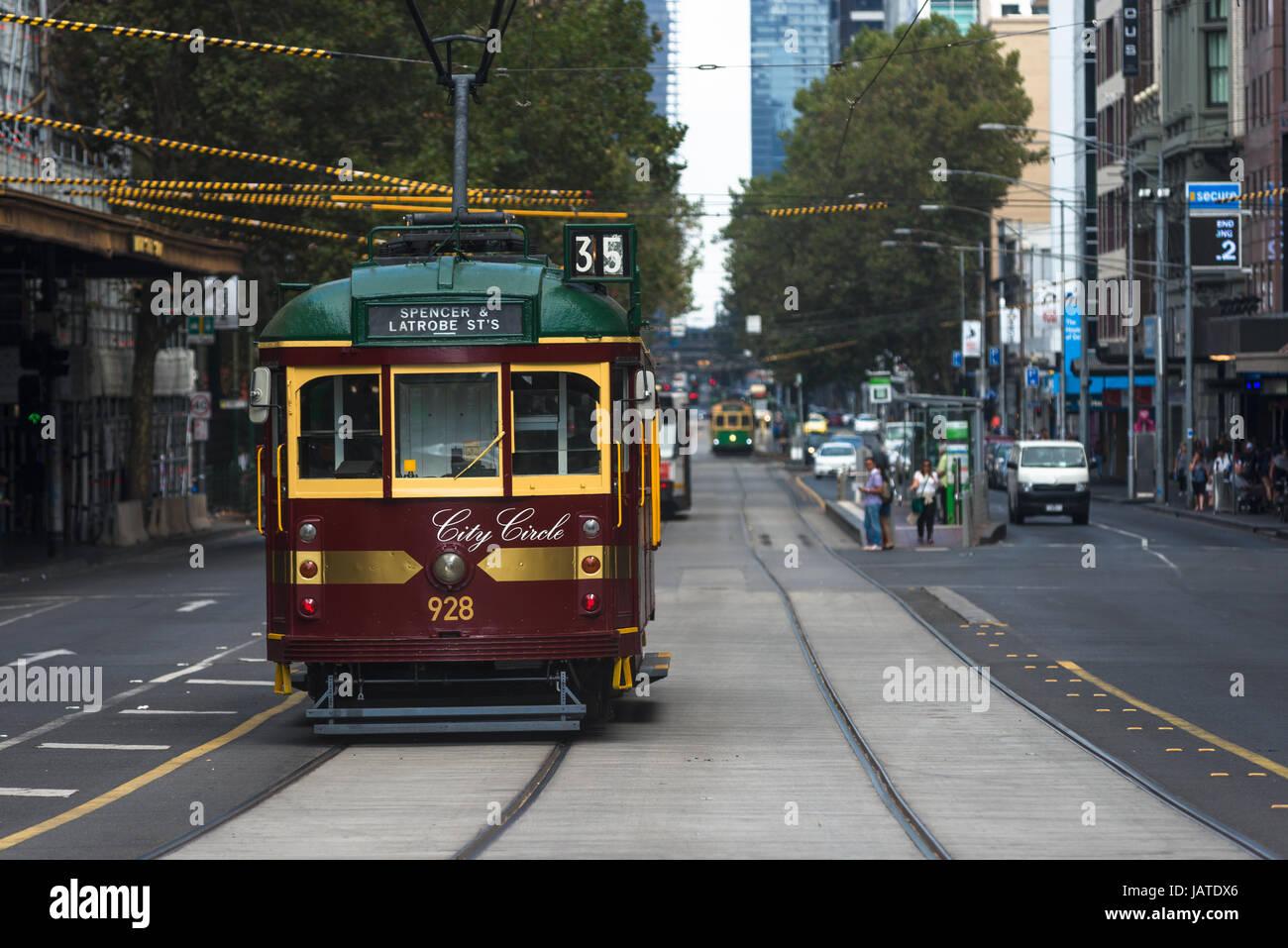 Traditional Trams in Melbourne city centre, Victoria, Australia. - Stock Image