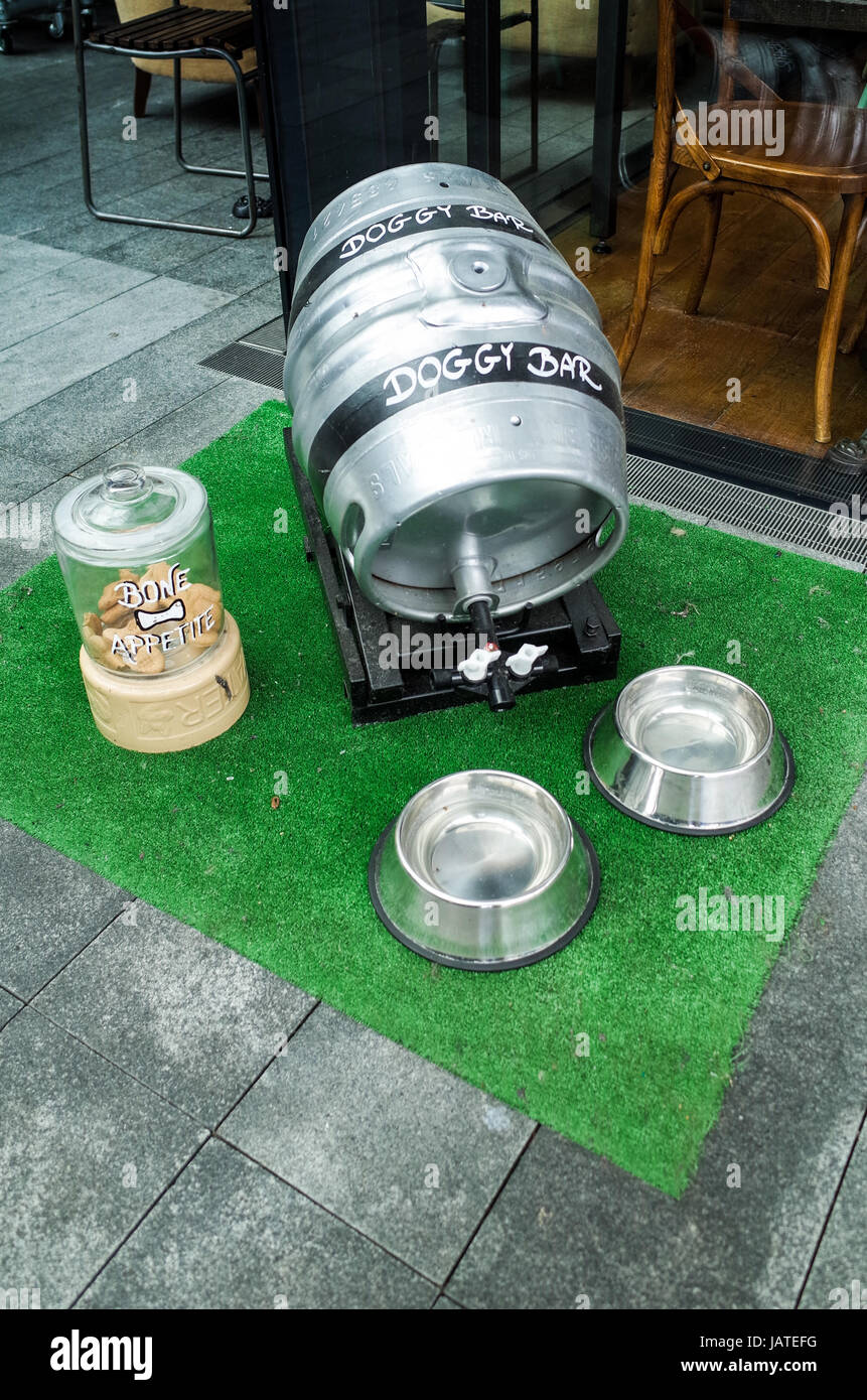 The Doggy Bar - a welcoming dog feeding and drinks area at a restaurant in East London's popular Spitalfields - Stock Image