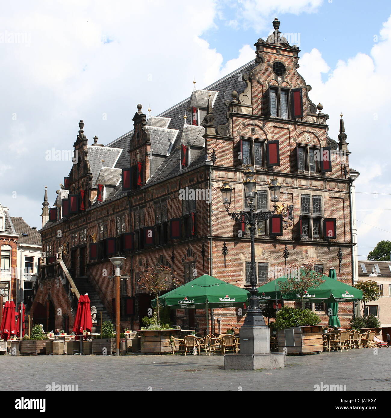 Grote Markt square, centre of Nijmegen, Netherlands with early 17th century Boterwaag (Butter Weighing House). - Stock Image