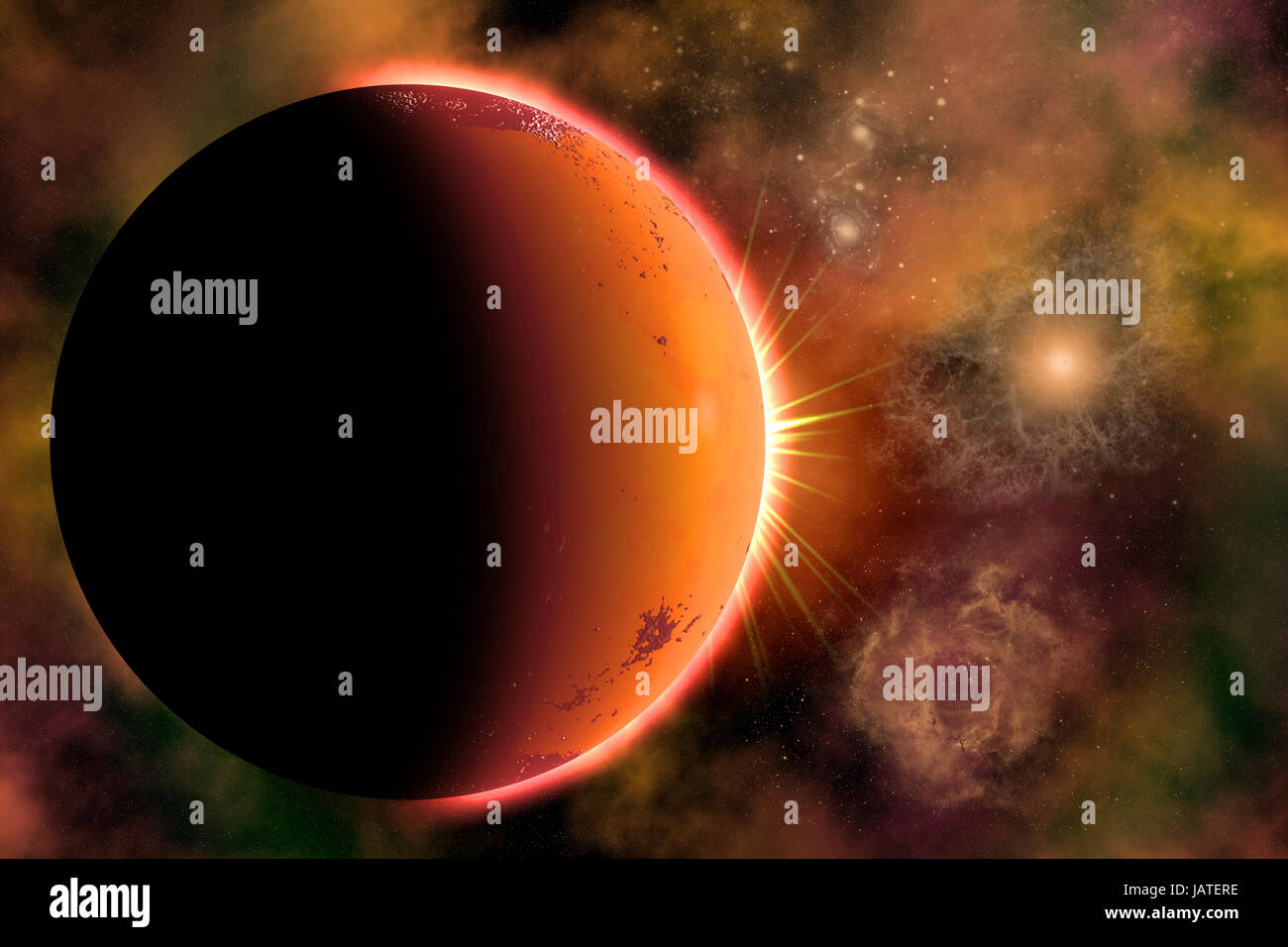 A Planet Orbiting A Binary Star System - Stock Image