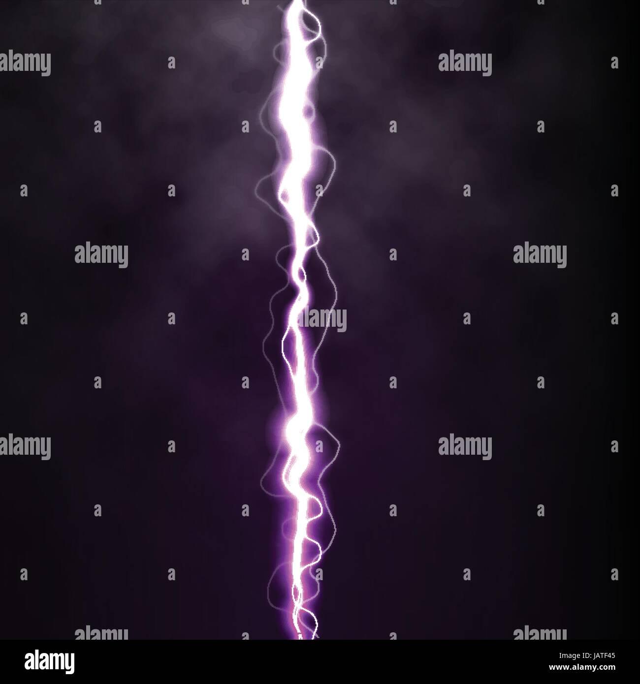 Lightning Flash Light Thunder Spark On Black Background With Clouds Stock Vector Image Art Alamy