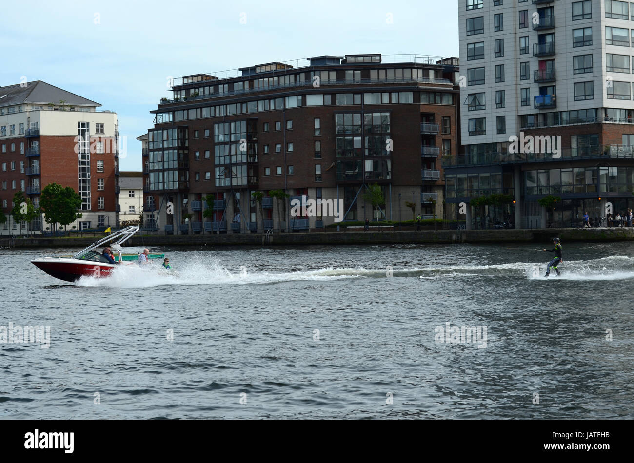 Guy doing Wakeboard by the Dublin Docklands - Stock Image