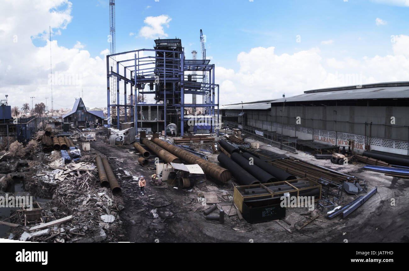 Panoramic Powerplant Construction in Infrared False color - Stock Image