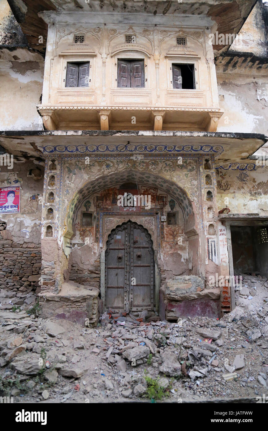 old house in demolition, Dausa, Rajasthan, India - Stock Image