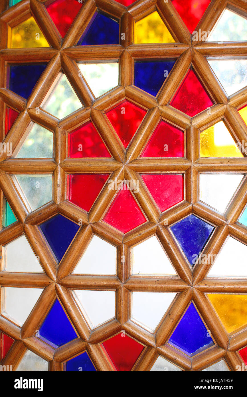Stained Glass In Wooden Frame This Is A Repeating Pattern And Stock