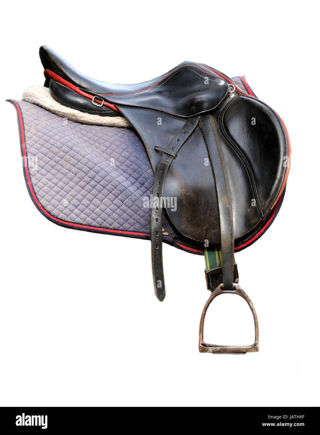 Black leather dressage saddle isolated on white background - Stock Image