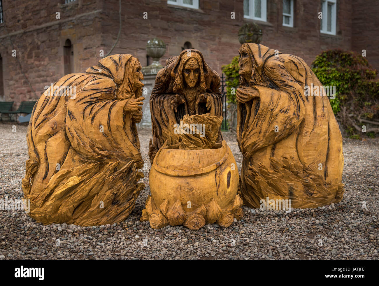 Carving of the three witches of Shakespeare's Macbeth at Glamis Castle - Stock Image