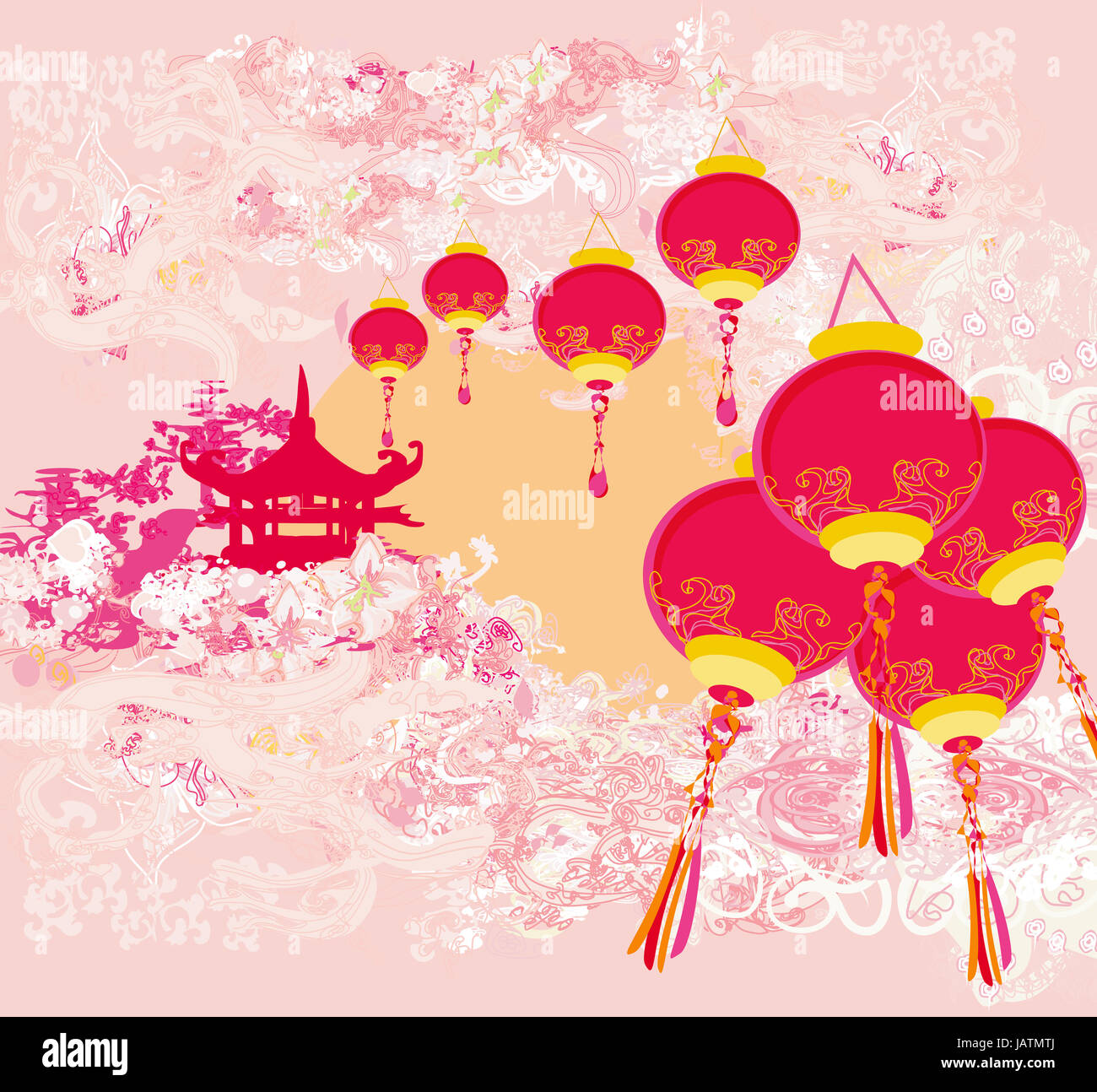 chinese new year card traditional lanterns and asian buildings