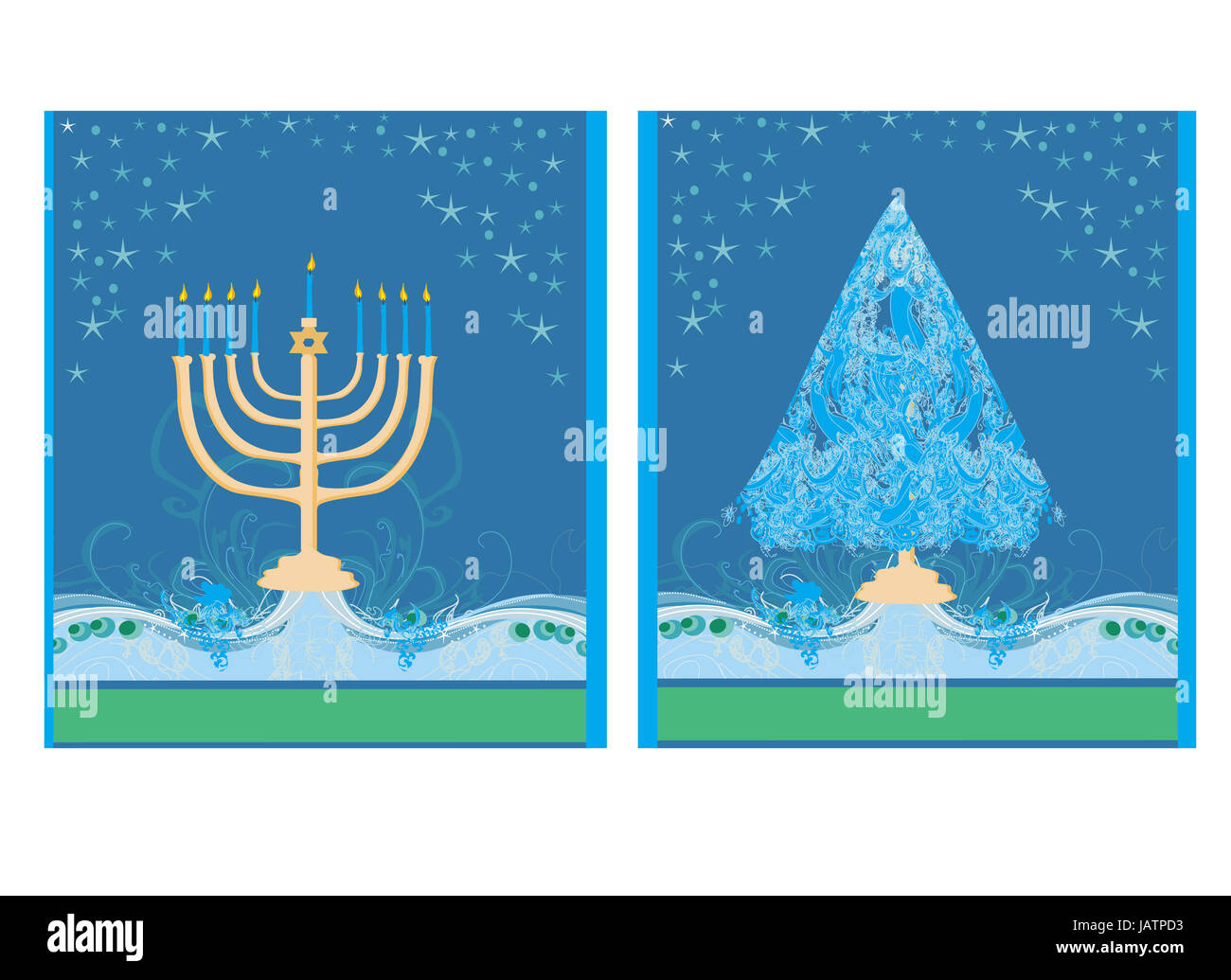 Pair Of Happy Holidays Cards With Christmas Tree And Channuka Stock