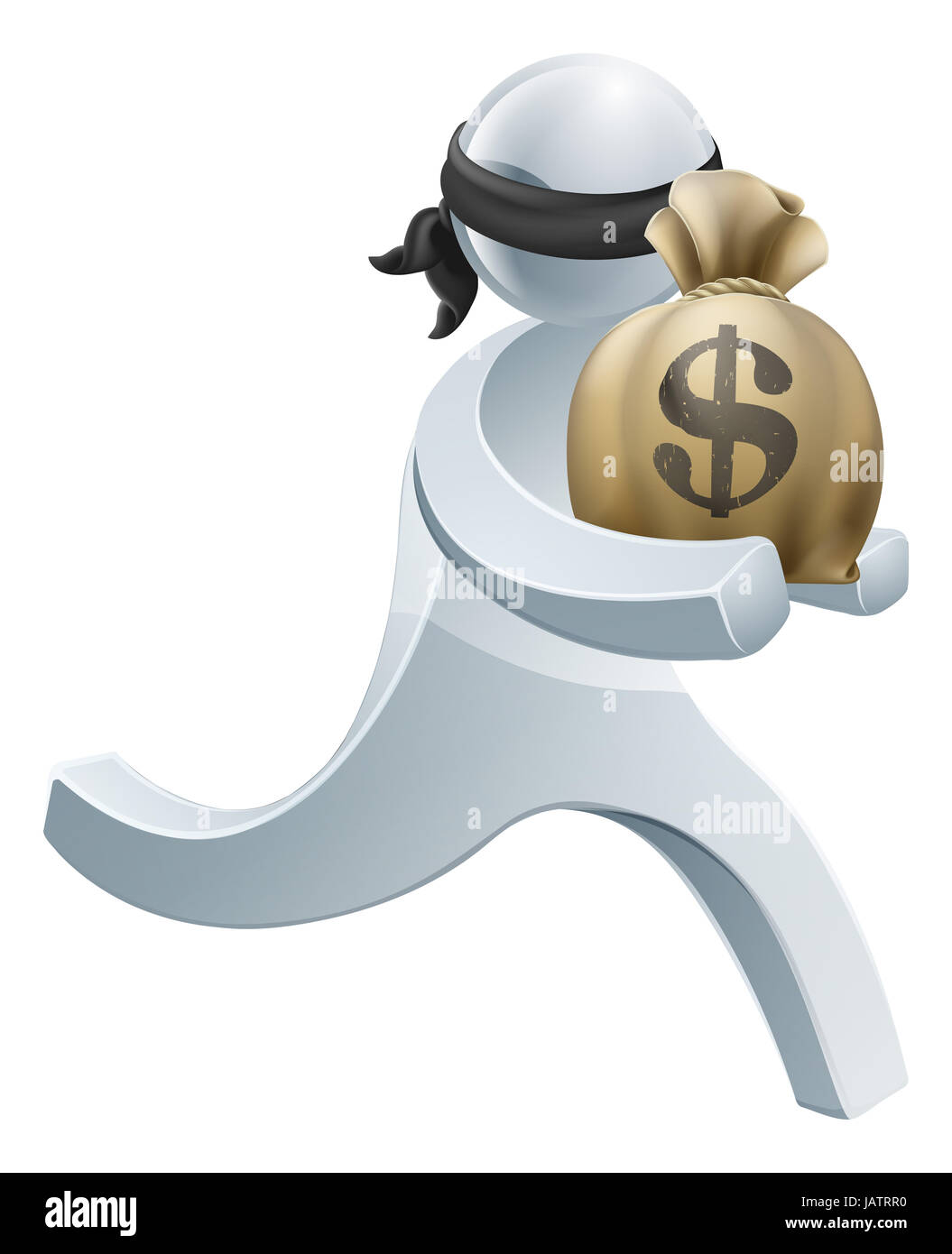 Burglar thief silver person concept of a thief with face mask running off with a big sack of money Stock Photo