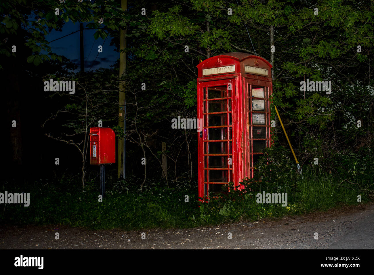 red telephone box in forest in england at night - Stock Image