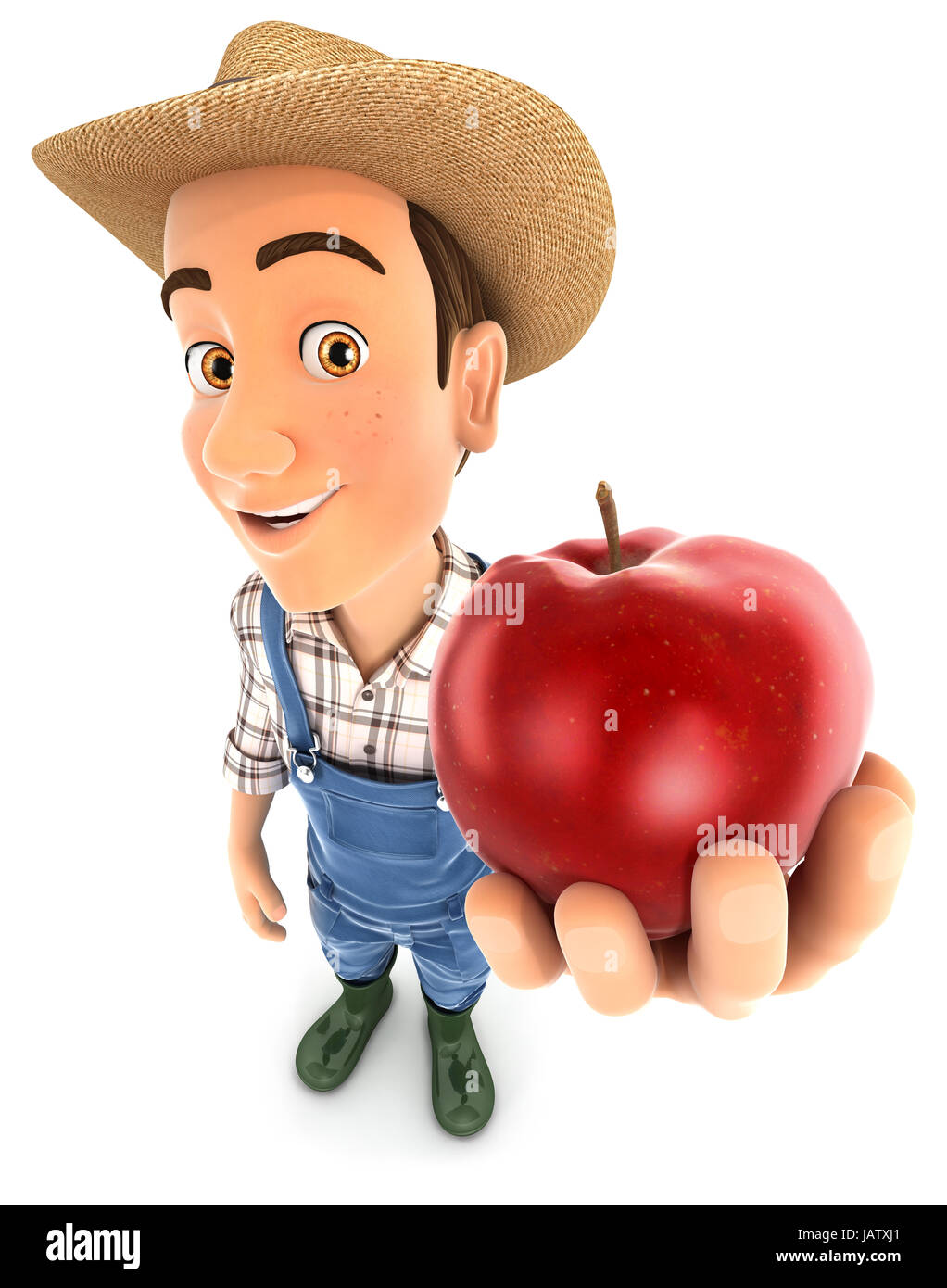 3d farmer holding red apple, illustration with isolated white background Stock Photo