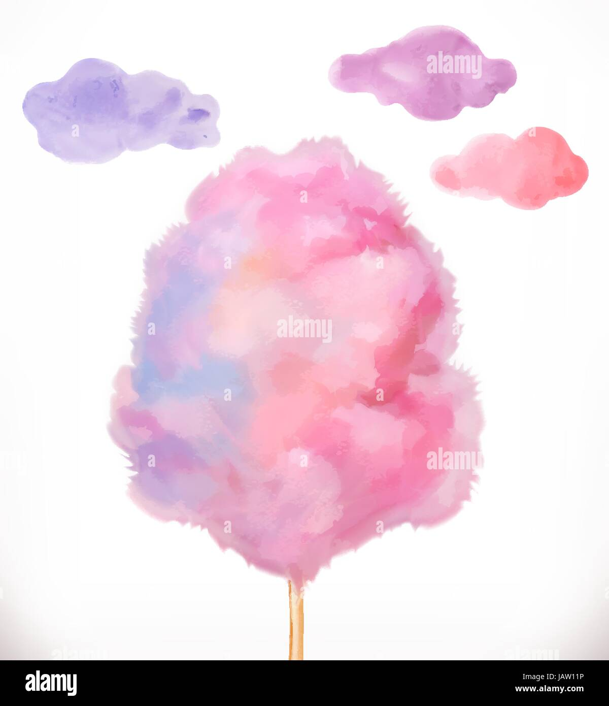 Cotton candy. Sugar clouds. Watercolor vector illustration - Stock Image