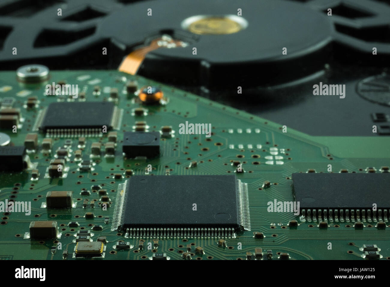 Close up inside of Hard disk drive (HDD) . Detail of electronic parts - Stock Image