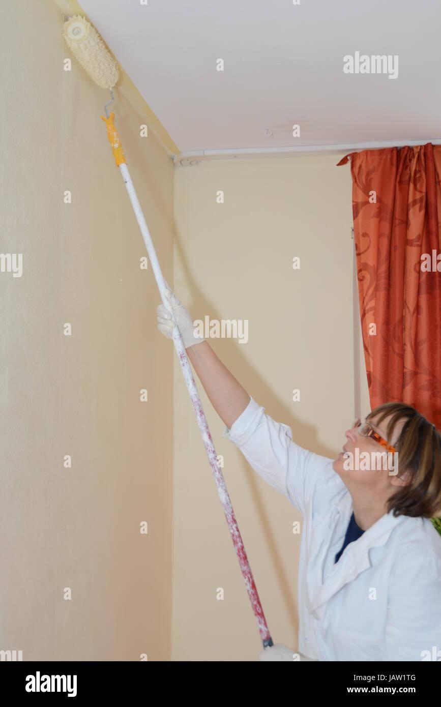 Wandwandfarbe Ansrtreichen Farbe Rolle Farbrolle Weißbinder